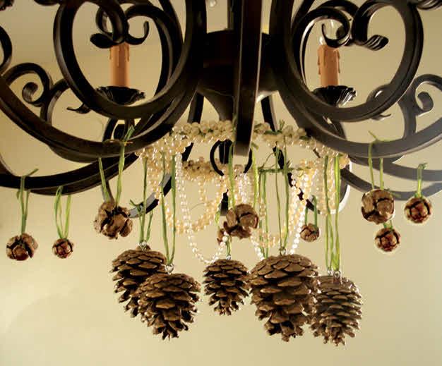 Araña con piñas secas para Navidad