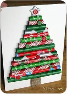 Crear tarjeta de navidad con papel de colores - Como realizar tarjetas navidenas ...