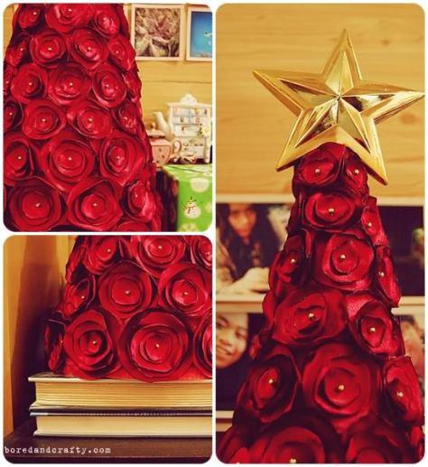 Rbol de navidad con rosas de tela - Cinta arbol navidad ...
