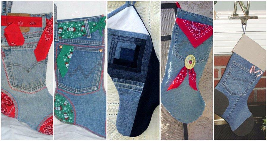 Calcetines navideños con jeans reciclados 1