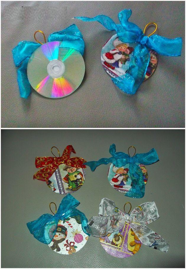 como hacer adornos de navidad con cds