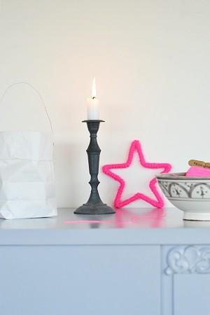 Estrella de alambre forrada para decorar en Navidad