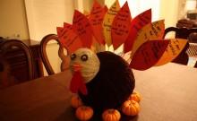 Pavo de Día de Gracias con mensajes para invitados