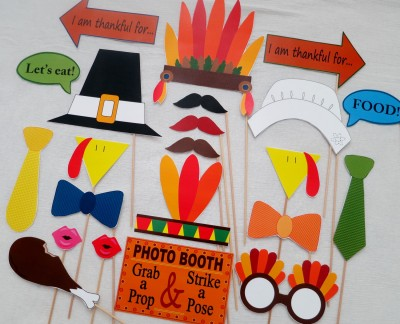 Thanksgiving Day Photo Booth props para el día de gracias