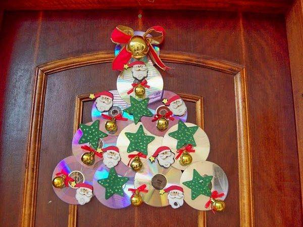 Adorno navide o hecho de cds for Decoracion navidena artesanal