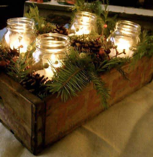 Centro de mesa con frascos de vidrio - Centro navideno de mesa ...