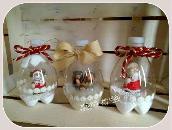 adornos navidad botellas descartables