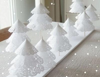 manualidades de navidad con papel puntilla