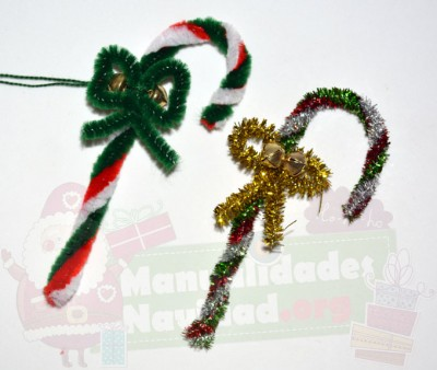 Bastones de Navidad con limpiapipas