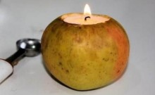 Portavelas de manzana