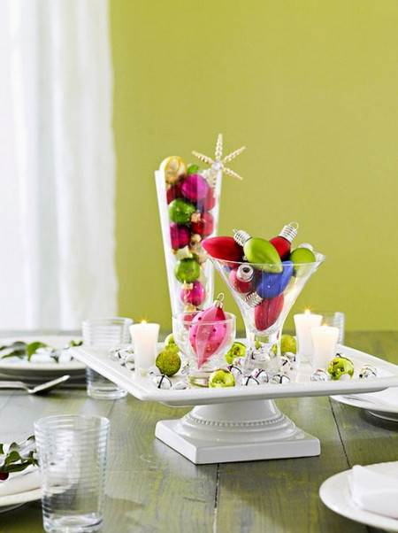 centro de mesa colorido para navidad. Black Bedroom Furniture Sets. Home Design Ideas