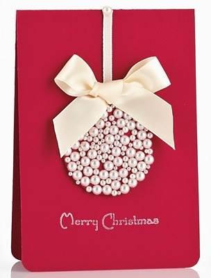 Tarjeta de navidad decorada con perlas - Tarjeta de navidad manualidades ...