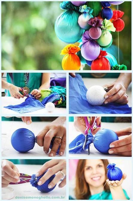 Esferas de Navidad forradas con telas