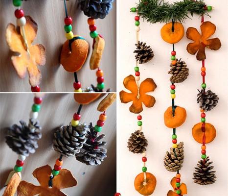 guirnaldas de navidad con pias y frutas - Guirnalda De Navidad