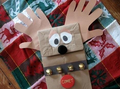 Reno de navidad con bolsa de papel - Manualidades con papel craft ...