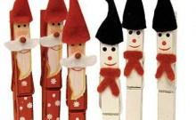 Muñecos navideños con pinzas de madera