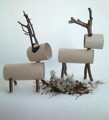 Renos con tubos de carton