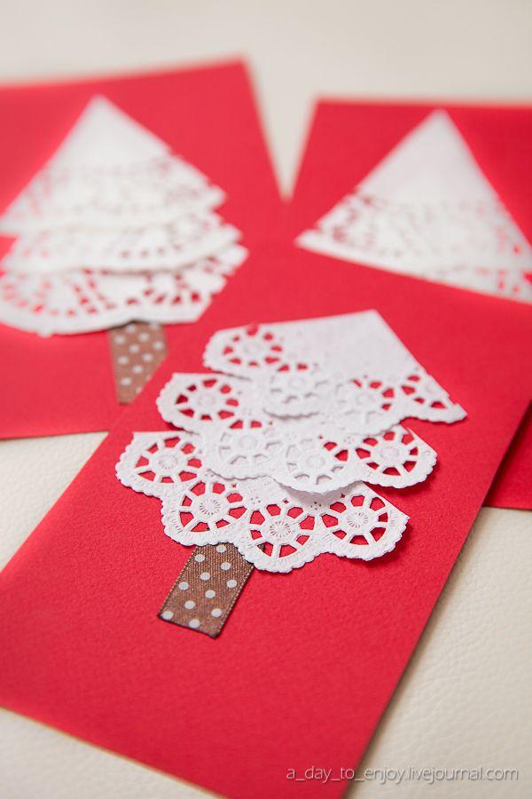 Tarjetas navide as con blondas for Tarjetas de navidad hechas por ninos